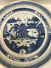 """VTG/  Estate Signed Chinese Blue and White 14"""" Round Siheyuan Platter In Excelle"""