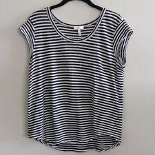 Joie Striped Shirt Top Lightweight Linen White Black Cap Sleeve Size M