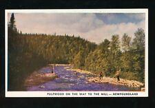 Canada Newfoundland Pulpwood on way to Mill c1940/60s? PPC