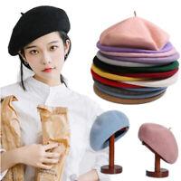 Sweet Women Girls Beanie Beret Winter Warmer French Artist Hats Solid Ski Caps