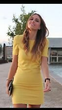 ZARA YELLOW DRESS WITH SHOULDER PADS Short SLEEVES Small S