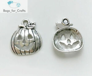 Tibetan Silver Pumpkin Jack O'Lantern Halloween Charms Pendants 18mm (TC118)