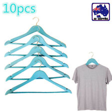 10x Blue Clothes Hanger Hook Wood Timber Hangers Coat Clothing HFRAC7796x10