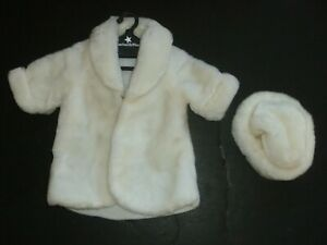 """White Faux Fur Coat w/ Cuffed Sleeves & Hat for American Girl 18"""" Doll"""
