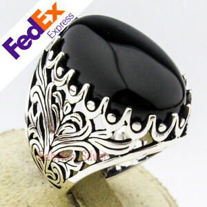 Onyx Stone 925 Sterling Silver TURKISH Handmade Luxury Men's Ring All Sizes