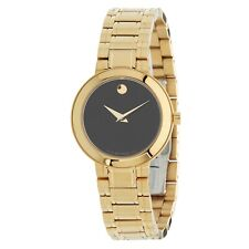 Movado Stiri Quartz Black Dial Yellow Gold PVD Ladies Watch 0607282