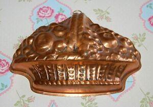 Vintage Copper Fruit Basket Design Jelly Mould Tinned Interior.