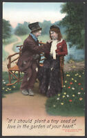 """Bamforth Postcard """"The Tramp & His Lady"""" If I Should Plant a Seed..""""1909 Written"""
