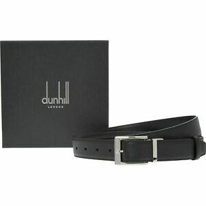 DUNHILL Men's Black Genuine Leather Rectangular Buckle Belt, size L (42 / 107cm)