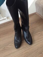 """LADIES NEXT LEATHER PULL UP KNEE HIGH 16"""" BOOTS SIZE 4. CALF D 13"""" BLACK"""