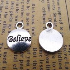 20pcs Charms Believe Word Tibetan Silver Beads Pendant DIY 12*15mm