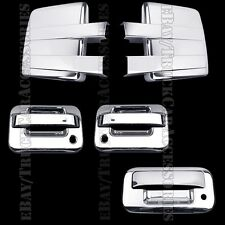 Chrome Covers For FORD F150 2009-2014 Full Towing Mirrors+2 Doors PK+Tailgate KH