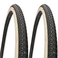PAIR OF 26 X 1 3/8 BIKE CYCLE ROAD TYRES BLACK WHITE NEW BICYCLE TYRE SLICK