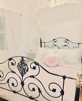 Shabby Pastel Pink Chic Quilted Double Queen Bed Chambray Quilt Bedspread Cover