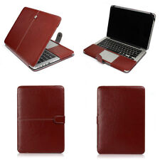 "Brown Leather Laptop Back Cover Case Skin For Apple Macbook AIR 11""/ PRO 13 15"