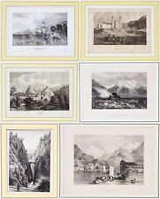6 Stahlstiche um1830 Schweiz Interlaken Grindelwald Graubünden Einsiedeln Sitten