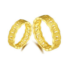 1 pcs Authentic 24k Yellow Gold Ring Lucky Hollow Maxim Mantra Wedding Ring
