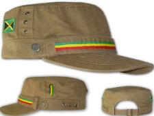 Casquette Militaire Cap Military Rasta Drapeau Jamaica Jah Star Beige