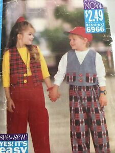 1993 Butterick See & Sew 6966 VTG Sewing Pattern Child Top Pants  Size 5 6 6X