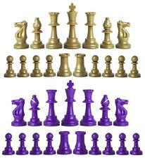Staunton Single Weight Chess Pieces - Set of 34 Khaki Gold & Purple - 4 Queens