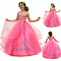 Pink Christening Birthday Bridesmaid Party Prom Ball Pageant Flower Girl Dresses