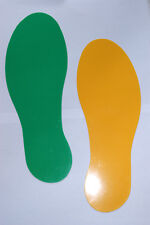 5S Premium 12 inch Footprint Floor Markers 10 pk - 5 Green Left - 5 Yellow Right