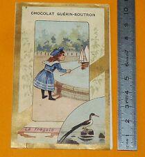CHROMO GUERIN-BOUTRON 1890-1900 LA FREGATE FILLETTE JOUE AU BASSIN