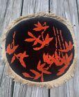 "12"" Antique Peking Round Rug MAT SMALL VtgnRound Funky Orange Retro Kneel Pray"