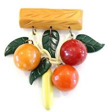 Vintage Bakelite Fruit Brooch Strawberry Orange Peach Banana Pin
