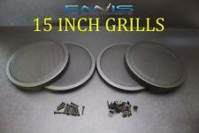 (4) 15 INCH STEEL SPEAKER SUB SUBWOOFER GRILL FINE MESH W/ CLIPS SCREWS GT-15