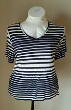 Cato Short Sleeve Summer Classic  Navy Blue Striped Lace Back Blouse Top 22/24W