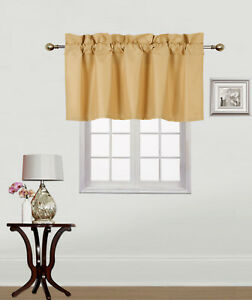 1PC SOLID MATE VALANCE SWAG BLACKOUT FOAM LINED SHORT WINDOW CURTAIN TREATMENT