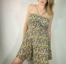 Unión De Moda Talla 14 Amarillo Ditsy Floral Vestido Halter Acanalada Sol Verano Día