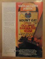 Vintage MOUNT GAY ECLIPSE BARBADOS RUM Original 1984 Print Advertising