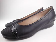 ECCO Abelone Black Leather Wedge Loafers Flats Shoes Sz 42