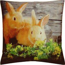 Kissenhülle Kissenbezug Dekokissen Ostern Fotodruck Zwei Hasen 40x40 Cm