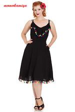 Voodoo Vixen Veronica Flared Summer 950s Vintage Style Dress Pom-pom Trim Black XL