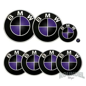 For BMW Badges - Gloss Black & Purple - All Models Decals Wrap Stickers Overlays