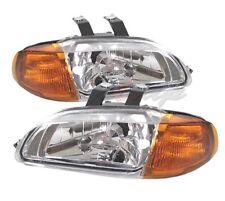 Fit 92-95 Honda Civic 2/3Door 1 Piece Crystal Clear Lens Headlight Amber Corner