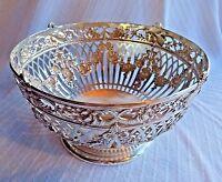 "Antique German 800 Silver Floral Garland Musical Instruments 8"" Fruit Bowl"