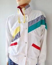 Vintage 90s White Windbreaker Jacket Nautical Look Snap Button Funnel Collar M