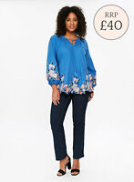 Ex EVANS Blue Embroidered Cotton Top Long Sleeve Blouse Size 14 - 32 RRP £40