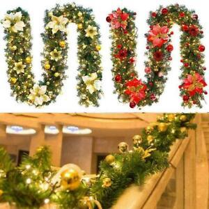 9FT Pre Lit Christmas Garland with Lights Door Wreath Xmas Fireplace DIY Decor