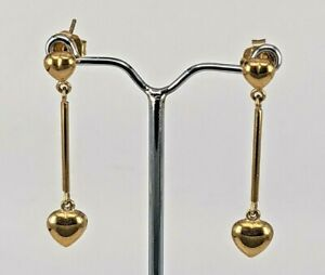 Clogau heart 9ct yellow gold dropper earrings boxed