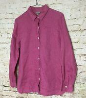 J Jill Womens Top Size Small Purple 100% Linen Long Sleeve Button Up Collared