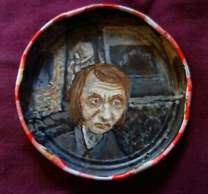 Michel Houellebecq, Jam Jar Lid Portrait, Literary, Outsider Folk Art PETER ORR