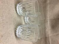 Set of 4 Vintage Crystal Facets Beverage Lowball Glasses 8oz
