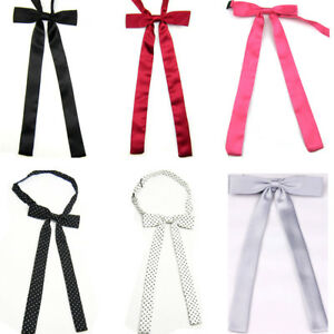 Women Ladies Wedding Banquet Long Bow Tie Solid Polka Dots Adjustable Necktie