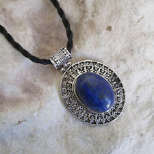 Oval Antique Style Genuine LAPIS LAZULI Stone PENDANT & Oriental Cord Necklace