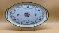 "Vintage Reichenbach Fine China Oval Serving Tray Platter Gold Floral 15"" GDR"
